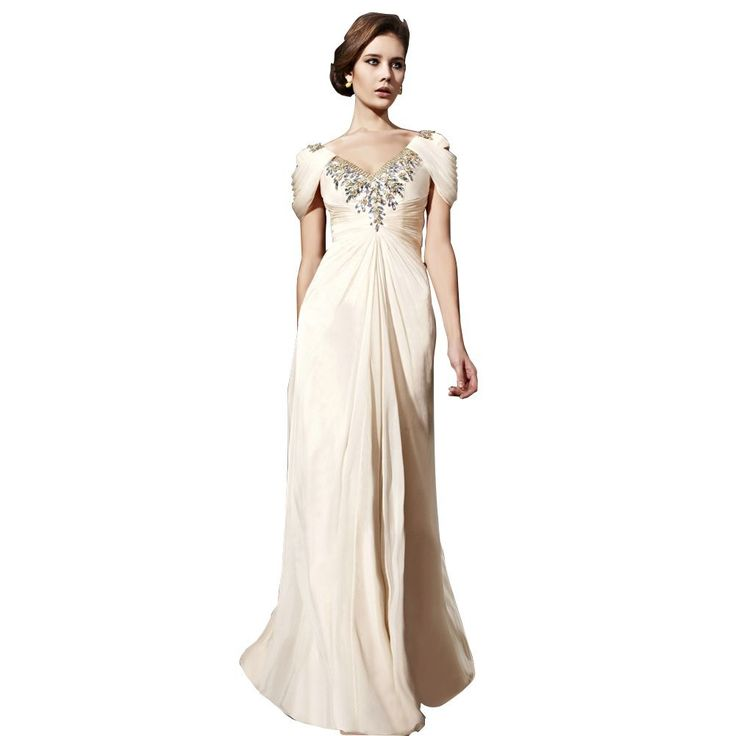 Cream Sheath/ Column V Neck Floor-Length Chiffon Wedding