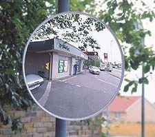 Trafikspejl med neutral kant rund
