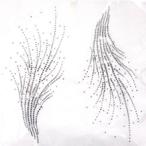 Rhinestone Iron on Transfer Hot Fix Motif Crystal Fashion Design Line Decoration 3 Sheets 10.4*10.2 Inch Fashion Design line $40