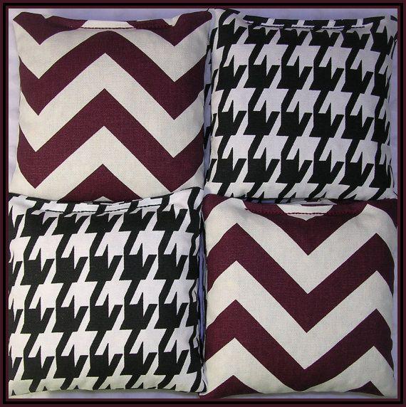 Alabama Cornhole Bags Crimson Chevron and Houndstooth Set of 8 Bags on Etsy, $25.00