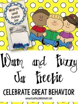 """Freebie: Celebrate your class's great behavior with this Warm and Fuzzy motivator. Every time the whole class is making great choices have a student put another """"warm and fuzzy"""" into the easy to view jar. If you enjoy this product make sure to visit our store, Facebook page or Instagram: Playful In Primary!"""