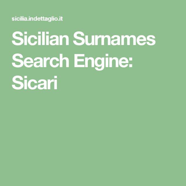 Sicilian Surnames Search Engine: Sicari