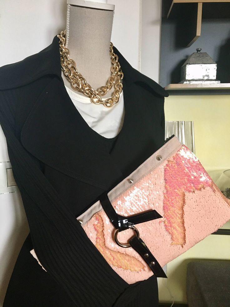 POCHETTE PAILLETTES ROSA Fenicottero-Splendide Paillettes Orientabili Sfumate Rosa-Disegna la tua borsa-Pink Flamingo Sequin Handbag di wowmood su Etsy