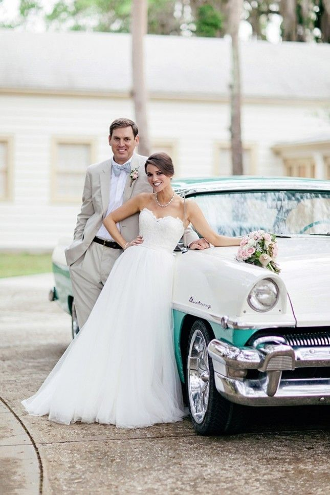 Add a retro vibe to your wedding with a classic 1950s car.