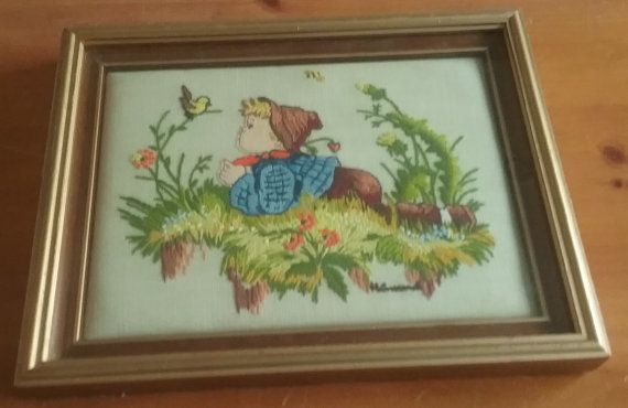 Hummel Boy With Bird Framed Crewel Embroidery by jeanienineandme
