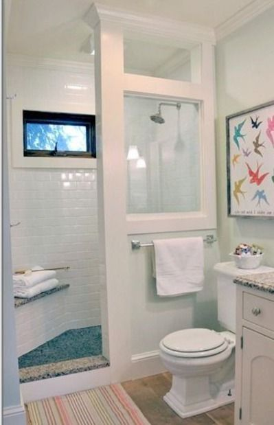 doorless shower modern farmhouse cottage chic love this shower for a small bathroom -Home Decor