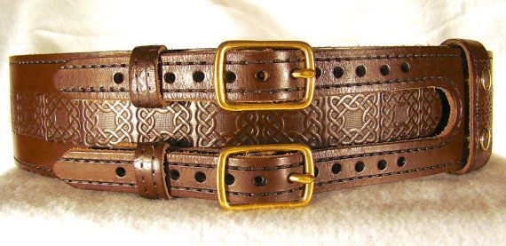Kilt Belt Leather Brown Chestnut Double Buckle Kilt Belt with Square Celtic Knot Stamping and Black Inlay Handmade in USA by Holy Heck