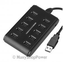 MAXY HUB MULTIPORTA CIABATTA USB 10 PORTE BLACK NERO NUOVO NEW NEGOZIO TORINO - SU WWW.MAXYSHOPPOWER.COM