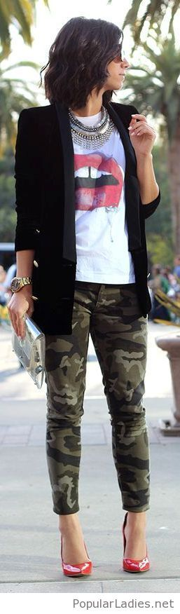 army-pants-printed-tee-black-blazer-and-red-shoes