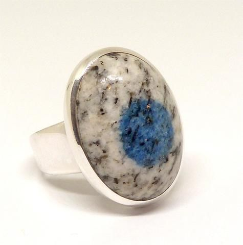 K2 = Azurite flowers in white Granite | Ring | US size 8 | 925 Sterling Silver | Oval Cab | Spiritual insight grounded relaxed | Crystal Heart Melbourne  1986