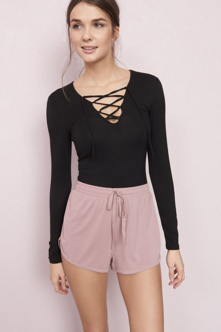 Long Sleeve Lace-Up Top