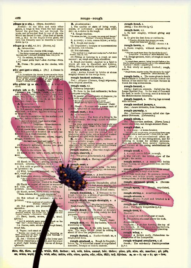 Pink Flower, Dictionary Art Print, Flower Art, Dictionary Print, Dictionary…