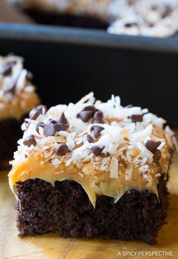 Decadent Samoas Texas Sheet Cake Recipe