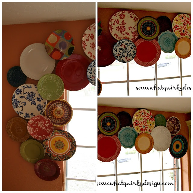 Somewhat Quirky- plate valance. So cool for a kitchen!