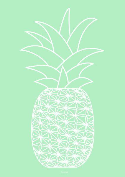 Fond d'écran ananas blanc sur fond vert menthe