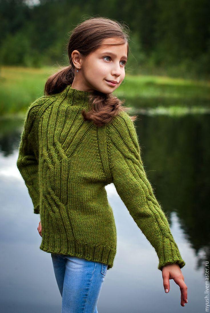 Купить Детский свитер - тёмно-зелёный, однотонный, свитер, свитер вязаный…