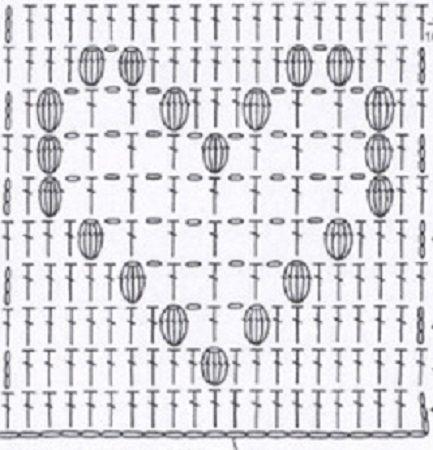 попкорн крючком - схема узора