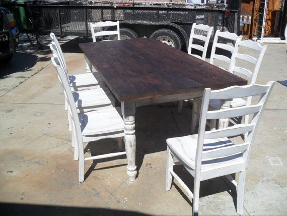 Dining Table (7ft) With 8 Chairs. Reclaimed Wood. Old Pine. Shabby