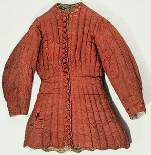 """Coat Armor (jupon) of Charles VI of France, late 14th century.    """"In Medieval and Renaissance Europe, […] in addition to mail and plate armor, […] knights and men-at-arms wore armor made of fabric, many-layered and heavily quilted body armor known as a gambeson (worn under mail and early plate armor), or a jupon (worn alone or over a mail shirt)."""""""