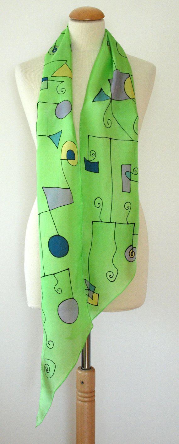 "Hand geschilderd zijde Scarf.Silk Scarf.Hand zijde geschilderd. Groene sjaal. Bruiloft Gift.Silk gordel. Silk Headband.Silk Art.Style abstract.78""x7.8"""