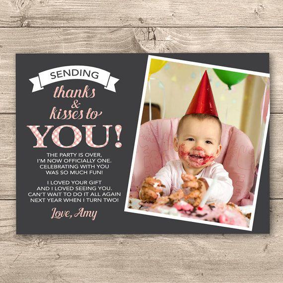 Girls 1st Birthday Thank you card Digital by InkandCardDesigns