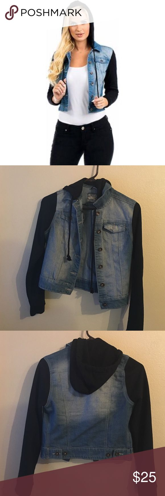 Black sleeve jean jacket Worn once. In perfect condition.  Juniors YMI jacket features a soft sweater material for the hood and sleeves, and a denim bodice with chest pockets and a button front. 57% Cotton, 32% Polyester, 10% Rayon, 1% Spandex. Machine wash. Tumble dry. YMI Jackets & Coats Utility Jackets