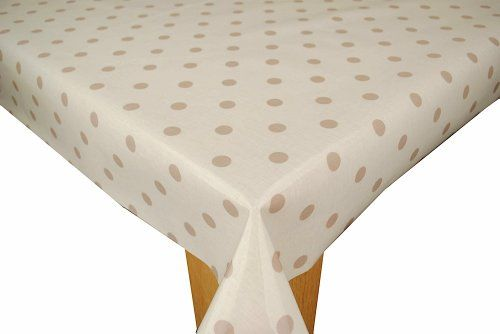Natural with Taupe Spot Wipe Clean Cotton Oilcloth Tablecloth 200cm x 130cm Karina Home http://www.amazon.co.uk/dp/B005SQJCJG/ref=cm_sw_r_pi_dp_MfXavb0HBT2X0