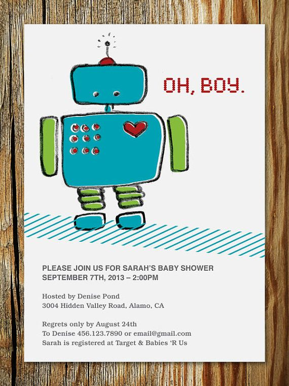 Robot Baby Shower Invitation Printable by ericapaoli on Etsy, $20.00