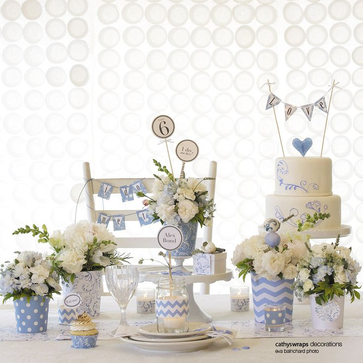 Baby Shower Decorations Table Settings: Blue Baby Shower, Wedding And Bridal Shower Table