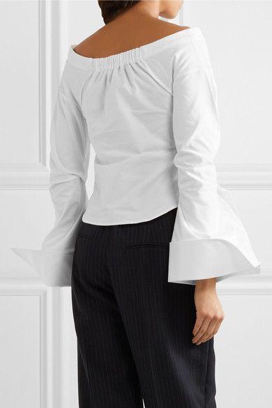 Jacquemus - Off-the-shoulder Cotton-piqué Shirt - Off-white - FR38