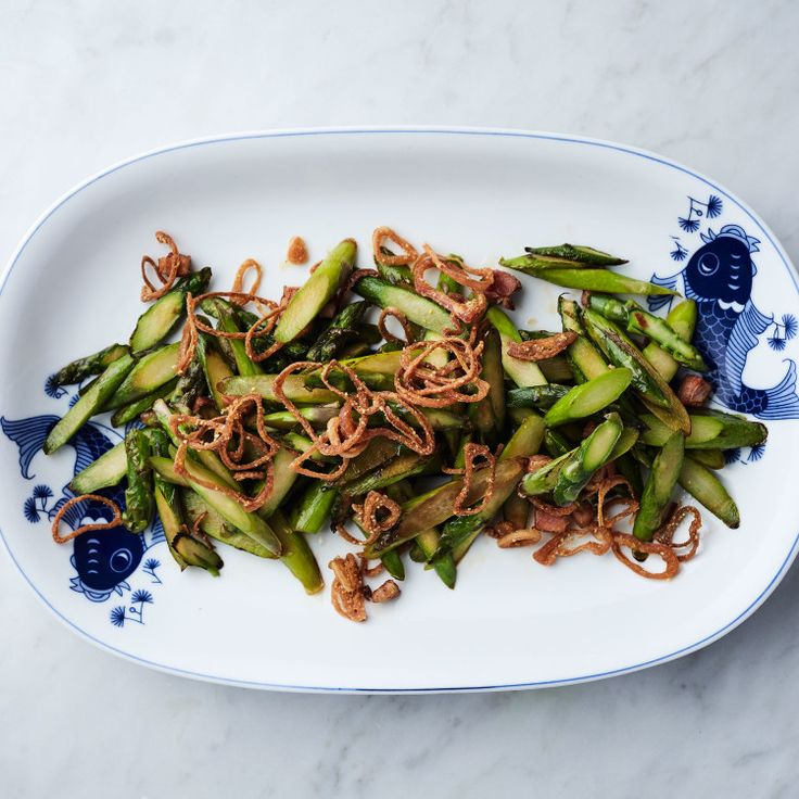 Stir-Fried Asparagus with Bacon and Crispy Shallots | Recipe | Fried ...