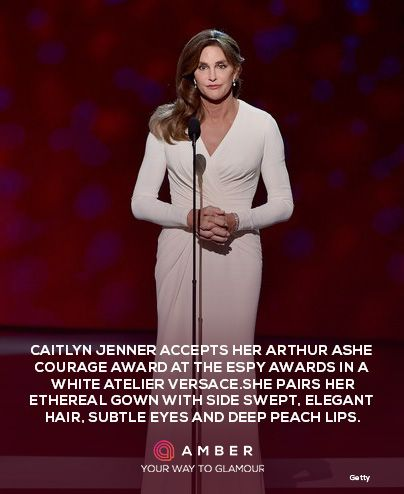 Caitlyn Jenner looked stunning in white at the ESPY awards. Get her look with Amber. REgister for your beta invite today at http://getamber.com