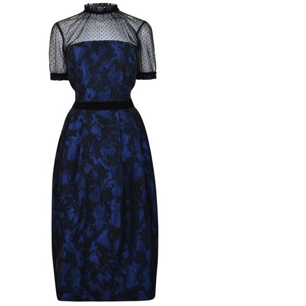 Perseverance London Jacquard Print Dress (580 NZD) ❤ liked on Polyvore featuring dresses, navy, navy blue formal dress, navy dress, white dress, night out dresses and mid length formal dresses