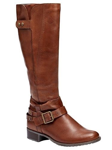 Cute womens brown leather riding boots with a buckle and straps! These will go well with my black or blue jeans, leggings pants, skirt or dress for fall, winter, and spring 2013 - 2014 ♥ Get this look at @SPARKTREND for $55, click the image to see! #boots #shoes #fashion