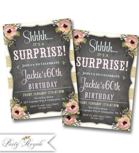 The 114 best surprise birthday party invitations images on pinterest surprise birthday invitations birthday party for a woman adult birthday invitation birthday or any age printable filmwisefo