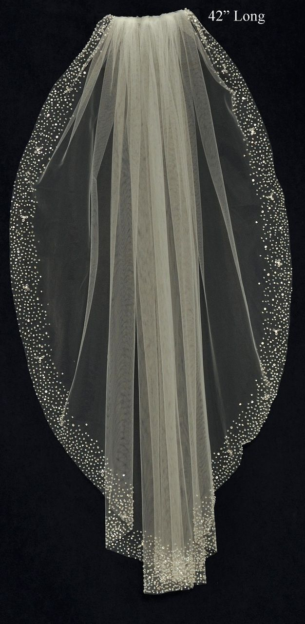 Stunning Wedding Veil with Heavy Beaded Border - C424 JL Johnson Bridal - Affordable Elegance Bridal -