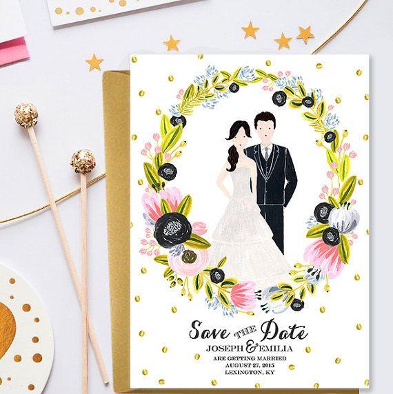 Personalized save the date card, wedding portrait, wedding invitation - custom couple portrait - custom wedding illustration digital invite  This is