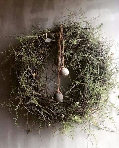 Rustic and natural Spring wreath with grapevine and sprigs of herbs!