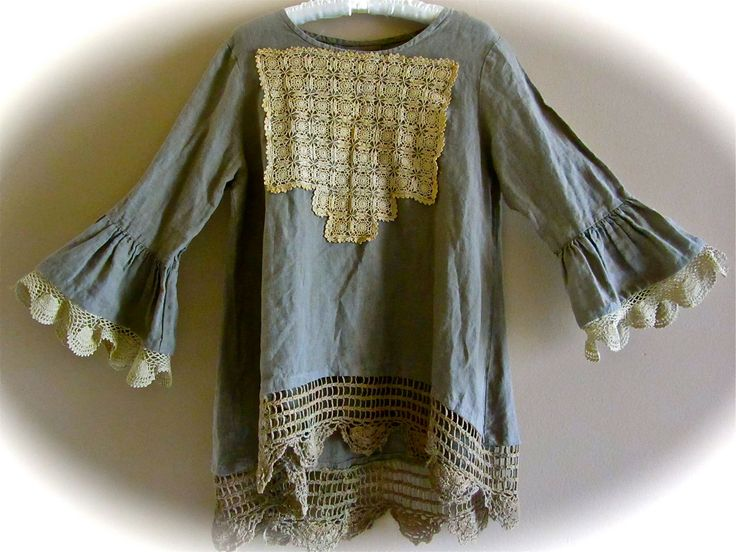 Boho Edwardian Forest Green Linen Poets Shirt XL Antique Crocheted Lace Shabby Chic.