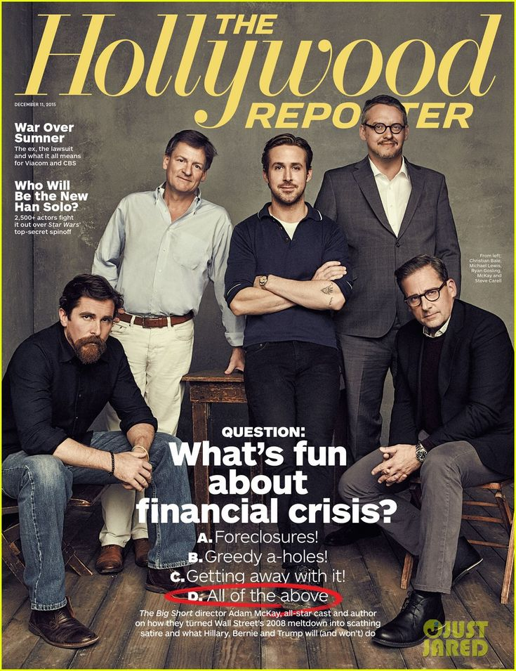 Ryan Gosling teams up with The Big Short co-stars Steve Carell and Christian Bale for the latest cover of 'The Hollywood Reporter'.