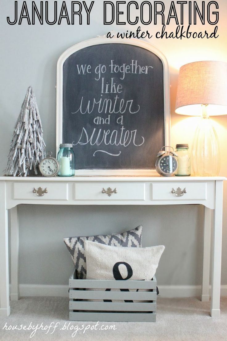 Church decorations for january - House By Hoff January Decorating A Winter Chalkboard Showcasing Your Collections
