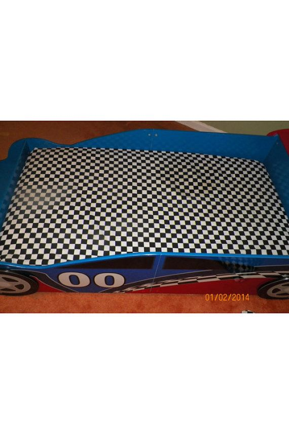 Black And White Checkered Race Car Bed Fitted Sheet And