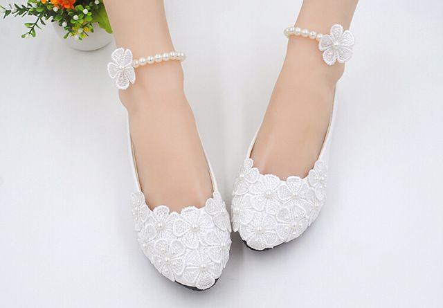 Blancos 2015 puros hechos a mano de los planos de tacón bajo la boda zapatos de novia / dama de honor zapatos flores zapatos planos