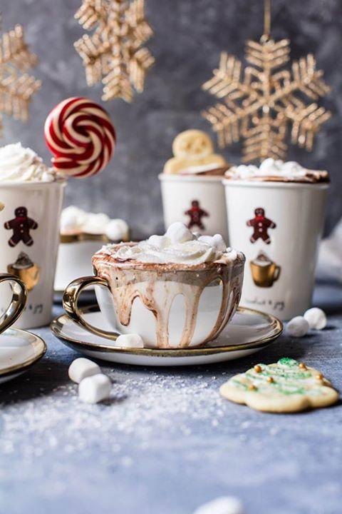 Новогодный горячий шоколад.  Ингредиенты на 3-4 чашки.  1/2 чашки молока  2/3 стакана сгущенное молоко с сахаром  1/4 стакана какао-порошок  170 гр. молочного или темного шоколада, тертого  1 столовая ложка ванильного экстракта   1/4 чайной ложки миндального экстракта   Для украшения взбитые сливки, зефир, печенье.    Добавьте молоко, сгущенное молоко, какао-порошок, шоколад, ваниль, и миндальный экстракт в большую кастрюлю. Поставьте кастрюлю на среднем медленном огне, пока молоко не начнет…