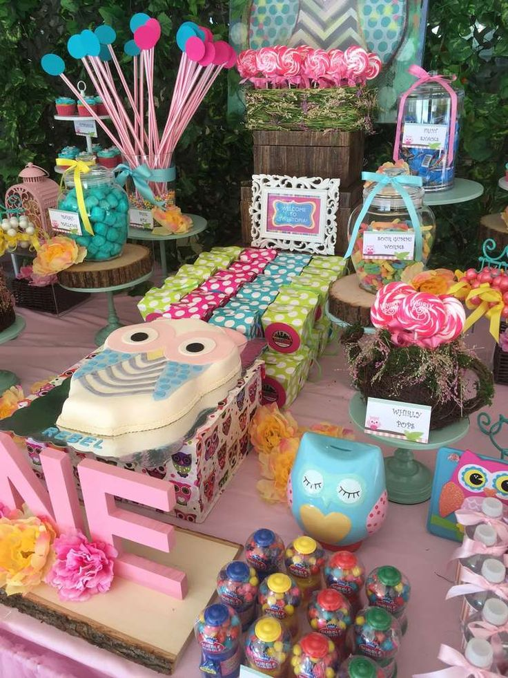 Fun treats at an owl birthday party! See more party planning ideas at CatchMyParty.com!