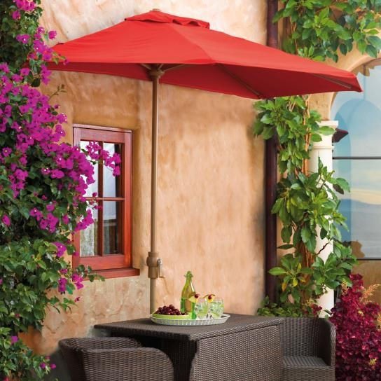 Our Outdoor Half Umbrella with Pole is the perfect shade over a door, on a balcony, or along walls or windows. Mounting is not necessary  a sturdy base keeps the half-umbrella tightly against any flat surface. Provides shade without taking up a lot of room, so it's great for tight spacesPowdercoated aluminum frame, pole, and baseAll-weather constructionOutdura  canopy resists fading, even in the blazing sunEasy-to-operate crankBase sold separately