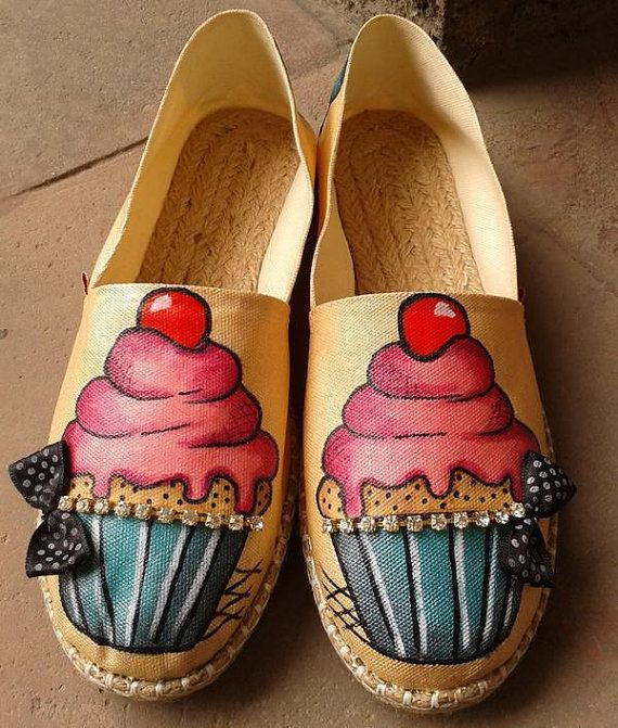 Cupcake Espadrilles- Hand Painted Cupcake Espadrilles- Ready to ship- Free Shipping on Etsy, $130.00