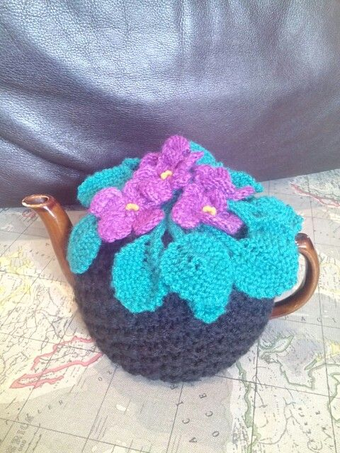African violet tea cosy #vintage #teaparty