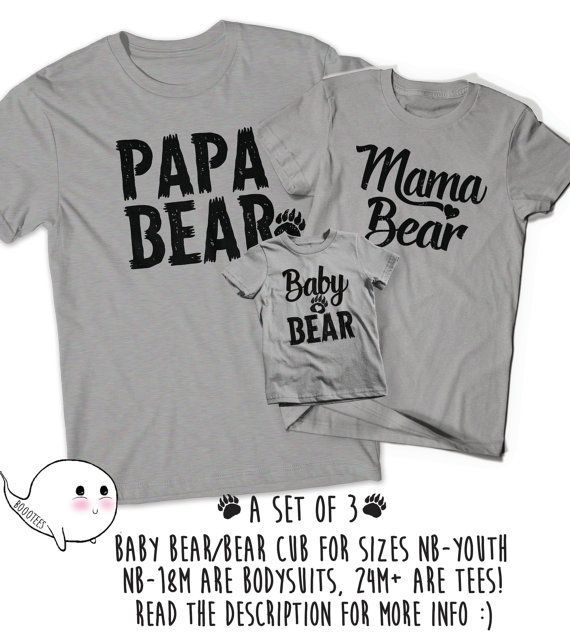 Matching Papa Bear Baby Bear Mama T-Shirts T Shirt Tee Pregnant Daddy Mommy Mom Dad Baby Toddler Father Gifts Present Baby Shower New Reveal