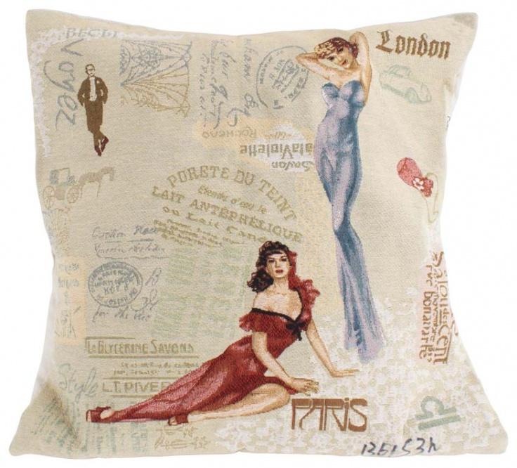 """Pernă decorativă """"Fashion"""" - imprimată pe o singură faţă cu motive amintind de anii Belle Époque. Cadou şi decoraţiune la un loc!"""